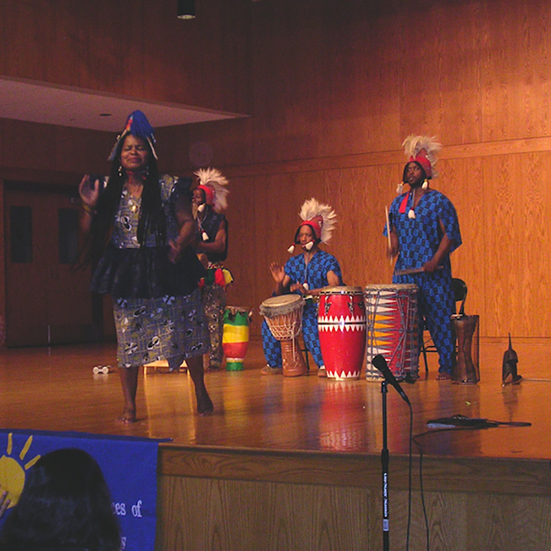 Bamidele Dancers & Drummers perform a West African dance program for Massachusetts schools.