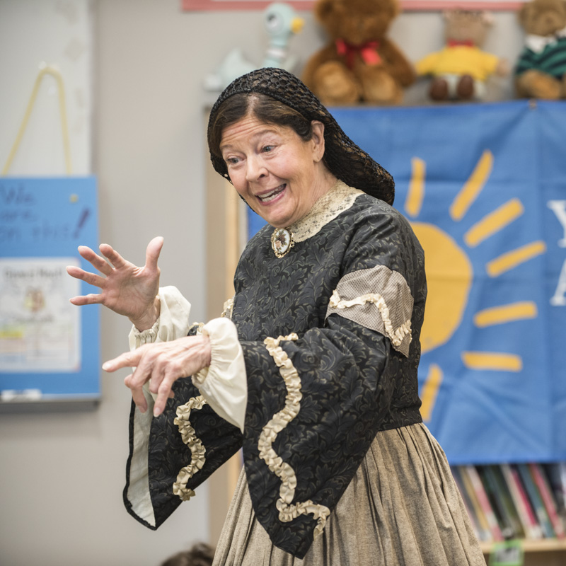 Jan Turnquist performs her Louisa May Alcott theater program for school assemblies