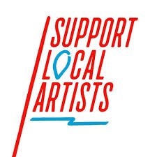 Support Local Artist flag design with location icon