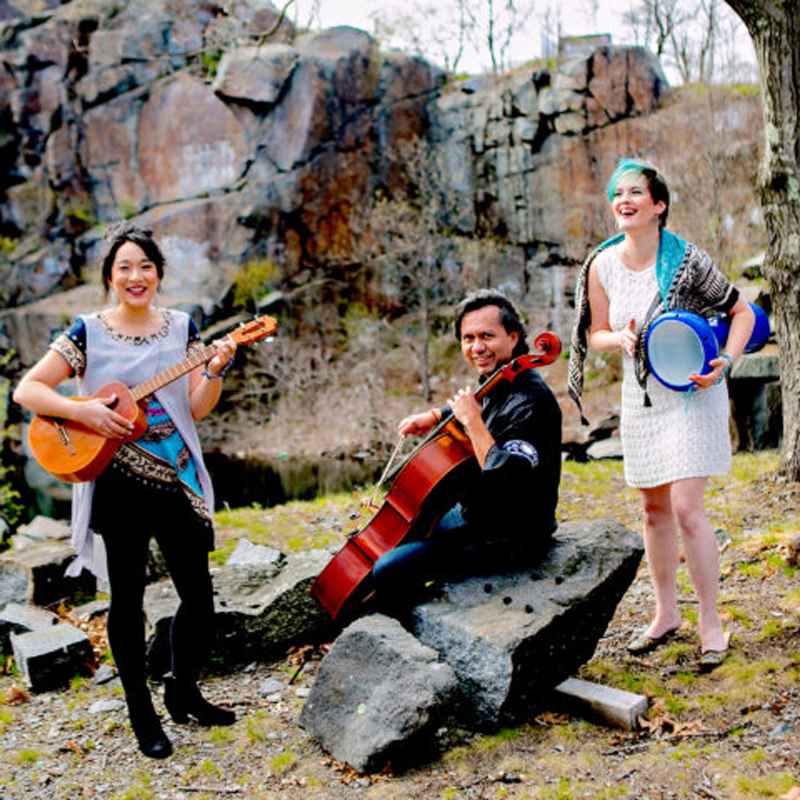 Voci Angelica Trio performs world folk music for school cultural arts assemblies through Young Audiences