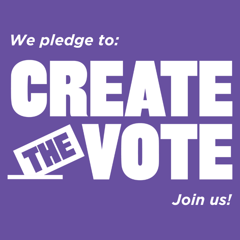 White text in purple box: we pledge to create the vote, join us!
